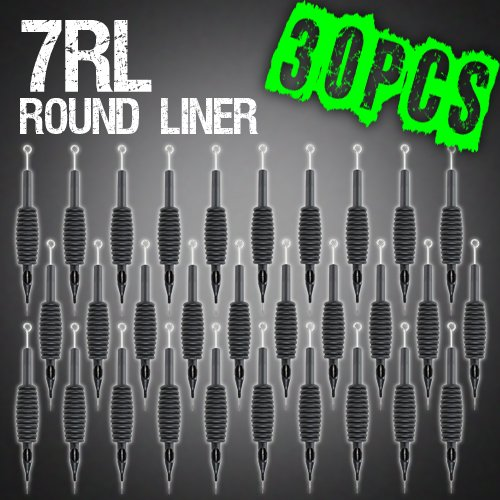 "30pcs 7RL Round Liner Disposable Tattoo Needle 3/4"" Grip Tube Tip Sterilized"