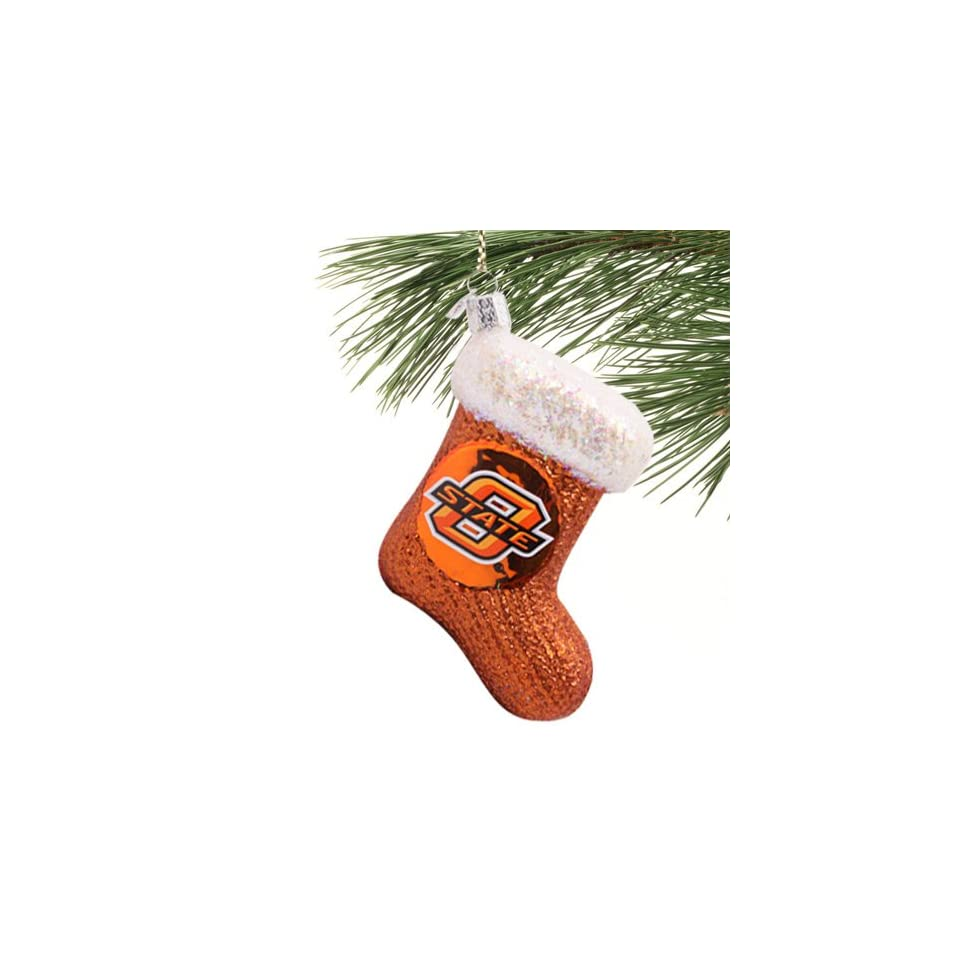 NCAA Oklahoma State Cowboys Orange Glass Stocking Ornament