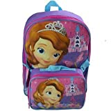 Disney Sofia the First Large Backpack with Detachable Lunch Bag Combo