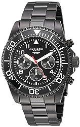 Akribos XXIV Mens Multi-Function Black Case with Black Dial and Black Stainless Steel Bracelet Watch AK950BK