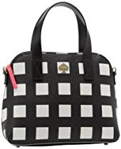 Kate Spade New York Checker Place Maise PXRU4047 Satchel,Black/Clotted Cream,One Size