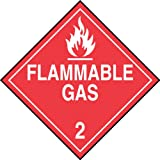 """Accuform Signs MPL202VS1 Adhesive Vinyl Hazard Class 2 DOT Placard, Legend """"FLAMMABLE GAS 2"""" with Graphic, 10-3/4"""" Width x 10-3/4"""" Length, White on Red"""