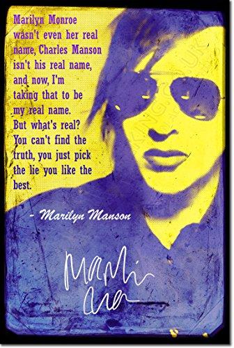 Marilyn Manson: Poster Fotografico (Con replica di Autografo). Rara Stampa Artistica Idea Regalo 30x20cm Cartellone