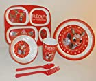 Officially Licensed Rudolph the Red Nose Reindeer 4 Piece Kids Melamine Dinnerware Set with Free Rudolph Tote