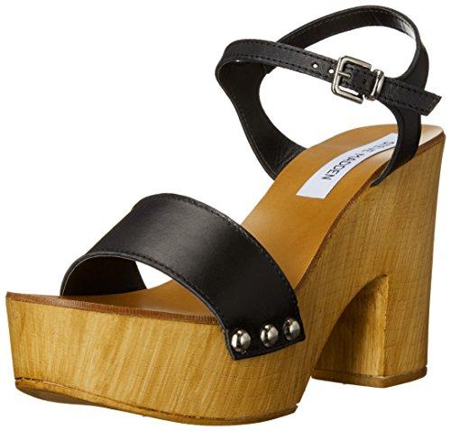Steve Madden Women's Lavii Platform Sandal, Black Leather, 8 M US (Wood Platform Shoes compare prices)