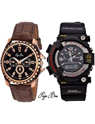 Pappi Boss Combo Of Brown Leather Octane Analog + Digital Multi-function Black S-Shock Watch For Men, Boys