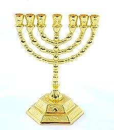 Decorative Menorah , Menora 7 Branch Jewish Israel Holy Land Jerusalem.12 Tribes Design-gold Color 5 by holyland souvenir
