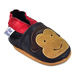 Petit Marin Beautiful Soft Leather Baby Shoes with Suede Soles - Toddler / Infant Shoes - Crib Shoes - Baby First Walking Shoes - Pre-walker Shoes - Monkey - 6-12 Months (20 Designs)