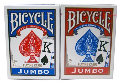 12 Rider Back Decks Red & Blue Jumbo Index Bicycle Cards