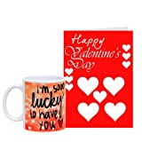 Valentine Red Card with Heart Printed Mug Gift for Valentine GIFTS110414 Romantic Valentine Gift,Valentine Gift for Him,Valentine Gift for Her,Valentine Gift for Boyfriend,Valentine Gift for Girlfriend,Valentine Gift for Husband,Valentine Gift for Wife