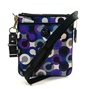 Coach Alex Signature Purple Blue Scarf Silky Swing Pack Bag 43381
