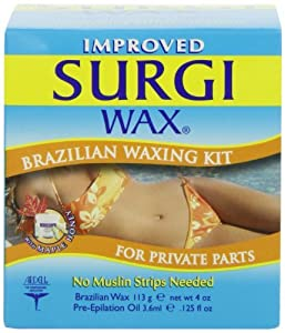 Surgi Wax BRAZILIAN WAXING KIT Microwave Hair Removal Kit For Intimate Areas