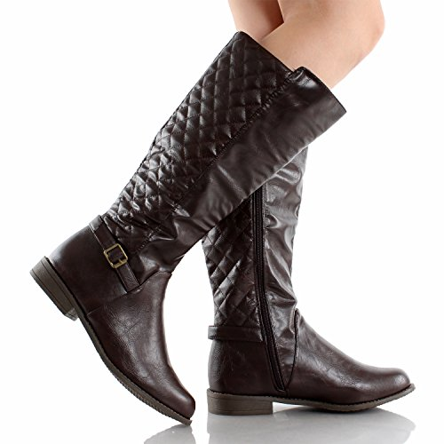 West Blvd Lahore Quilted Riding Boots Brown Pu 8 Apparel Accessories Shoes