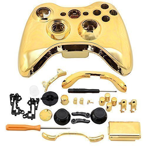 Super Custom Replacement Wireless Game Controller Shell Case Cover Kit for Xbox 360 - Includes Button Set, Torx & Phillips Head Screwdrivers (Gold) (Custom Controller Covers compare prices)