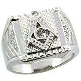 Sterling Silver Men's Masonic Ring w/ CZ Stones & Frosted Side Accents, 5/8 in. (16mm) wide, size 13