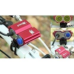 COOLER-CREE XM-L U2 - Luz LED frontal para manillar de bicicleta (2 focos, 5000 Lumens, 4 modos) negro negro Talla:Dimensions: 42mm(L)*60mm(W)*38mm(H)
