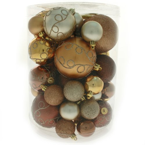 50 Piece Deluxe Christmas Tree Bauble Decoration Pack - Chocolate / Coffee / Champagne