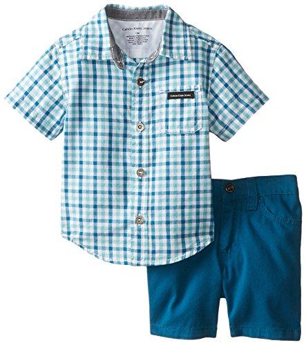 Calvin klein baby boys 39 plaid shirt with shorts blue 18 for Baby boy blue shirt