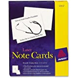 Avery 5315 White 4-1/4 x 5-1/2 laser note cards, 2 cards/sheet, 60 cards & envelopes/box
