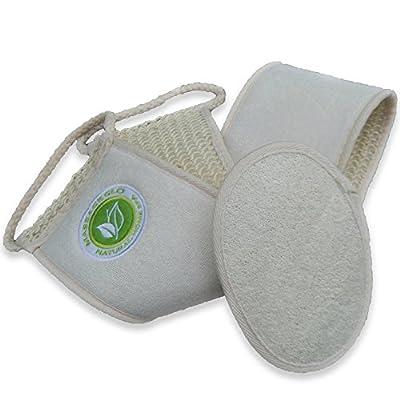 AMAZING Back Body Scrubber - Bath Shower Men and Women - 100% Sisal - Premium Extra Long - BONUS 100% Natural Loofah exfoliating Pad - Lip Scrub - Solution - Bacne - Blood Circulation - Younger Healthy Skin