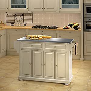 Naomi Home Woodstock Culinary Island White Stainless Steel Kitchen Home