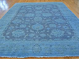 9 x 12 HAND KNOTTED NAVY BLUE OVERDYED PESHAWAR ORIENTAL RUG G22092