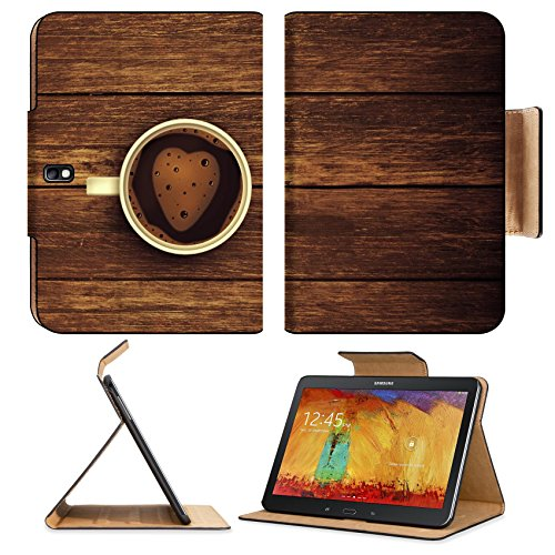 Cup Coffee Foam Heart Wooden Heart Samsung Tab Pro 10.1 Flip Case Stand Smart Magnetic Cover Open Ports Customized Made To Order Support Ready Premium Deluxe Pu Leather Msd Professional Graphic Background Covers Designed Model Folio Sleeve Hd Template Des