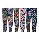 VOSO-6 Pcs Nylon Temporary Fake Tattoo Sleeves Stretch Arm Stockings Goth Punk # 7600510