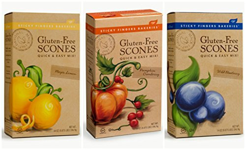 Sticky Fingers Gluten-Free Scone Mix Bundle with Pumpkin Cranberry, Wild Blueberry and Meyer Lemon Scone Mix, 14 Oz Each (3 Boxes Total) (Lemon Waffle Mix compare prices)