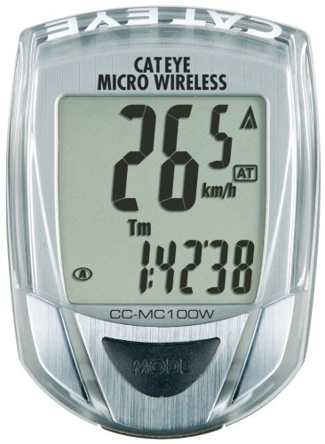 Cateye CC-MC100W Micro Wireless 10-Function Bicycle Computer (Silver)