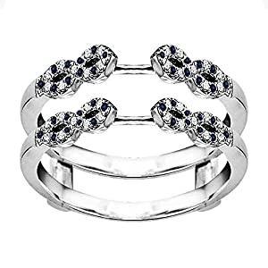 0.38CT Diamond and Sapphire Infinity Ring Guard Enhancer set in Sterling Silver (0.38CT TWT G-H I2-I3 Diamond and Sapphire)