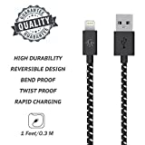 Go Beyond(TM) 1 Feet 8 Pin Fabric Braided Nylon Premium Durable iPhone 5/6 Data Sync / Charging Cable for iPhone 6/6 Plus, iPhone 5/5S/5C , iPad Mini, iPod Touch 5th Generation (SHIPPED IN SAME BUSINESS DAY. Compatible with iOS 8) (Black Nylon)