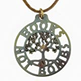 Books Not Bombs Tree of Life Iridescent Pendant Necklace on Adjustable Natural Fiber Cord