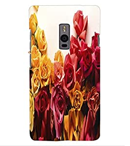 ColourCraft Beautiful Flower Bunch Design Back Case Cover for OnePlus Two