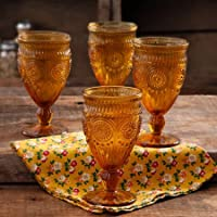 4-Pack The Pioneer Woman 12-Ounce Amber Adeline Glass Goblet Set