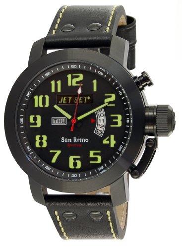 Jet Set - J3380B-217 - San Remo - Montre Homme - Quartz Analogique - Cadran Noir - Bracelet Cuir Noir