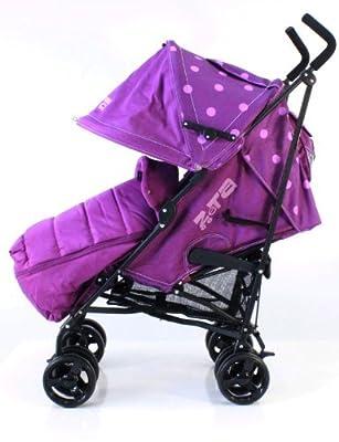 ZETA VOOOM - Plum Dots with Rain Cover + Deluxe 2in1 footmuff liner zip off padded plum by Baby Travel