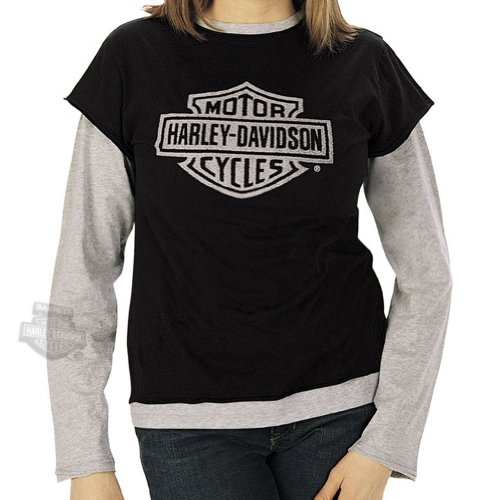 Harley-Davidson Womens Beaded Harley Layer with Grey Sleeves Black Long Sleeve Large