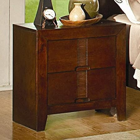 Nightstand with Bamboo Like Design in Cherry Finish