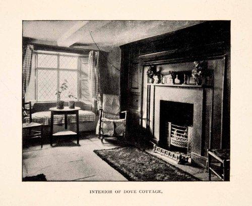 1901 Halftone Print Dove Cottage Interior Grasmere English Lake Poets Wordsworth - Original Halftone Print