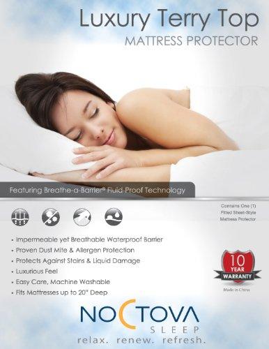 Noctova Luxury Terry Top Waterproof Mattress Protector (Queen)