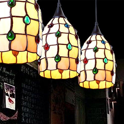 Ecopower Mini Ceiling Pendant Light 1-Light Hanging Light Art Glass Shade, Tiffany Style