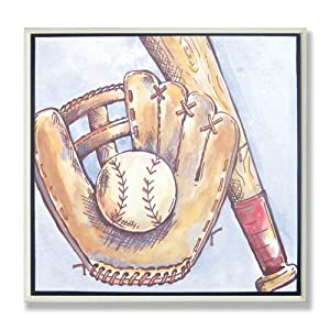 The Kids Room Baseball Glove and Mitt Square Wall Plaque
