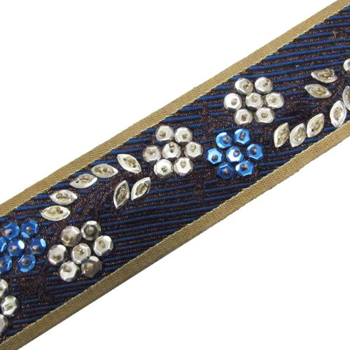 1 Yard Hand Beaded Blue Light Gold Sequin Ribbon Trim