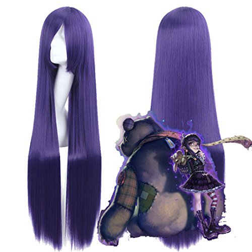 [Heat Resistant Fiber League of Legends LOL Goth Annie and Hitagi and Riricho Purple Synthetic Extra Long Cosplay] (League Of Legends Annie Cosplay Costume)