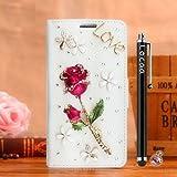 Locaa(TM) Für Alcatel OneTouch Pop 4S Pop4S 3D Bling Rose