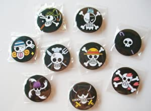 "9 TV Animation One Piece Pirates Jolly Roger Plastic Button Set ~1.75"" Big~"