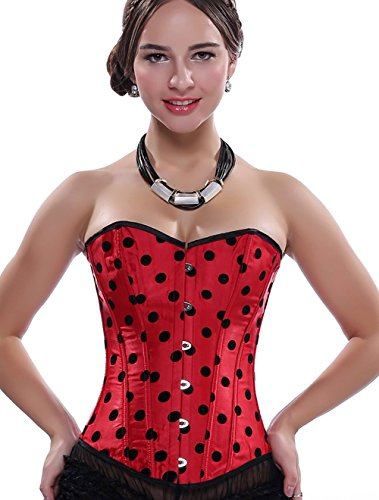 Fashion Satin Polka Dots Moulin Rouge Costumes Valentine Overbust Corset