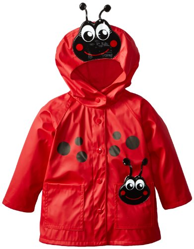 Western Chief Little Girls' Ladybug Rain Coat, Red, 4/5 front-714168