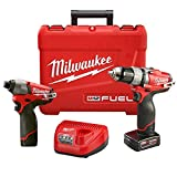 Milwaukee 2594-22 M12 Fuel Combo 1/2 Drill/Impact W/2 Bat (Color: Red)